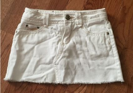 The-Limited-Too-Size-6-White-Jean-Skirt-Lined-Adorable