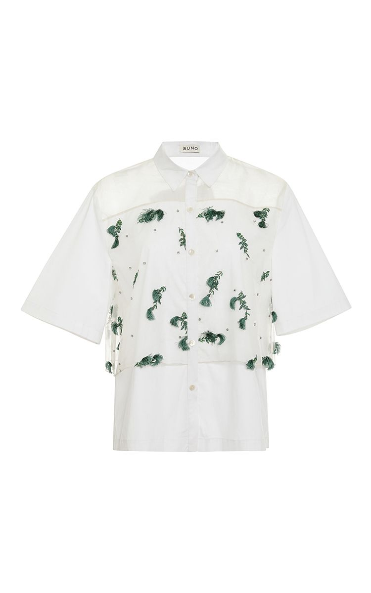 White Button Down Shirt with Embroidered Overlay by Suno Now Available on Moda Operandi