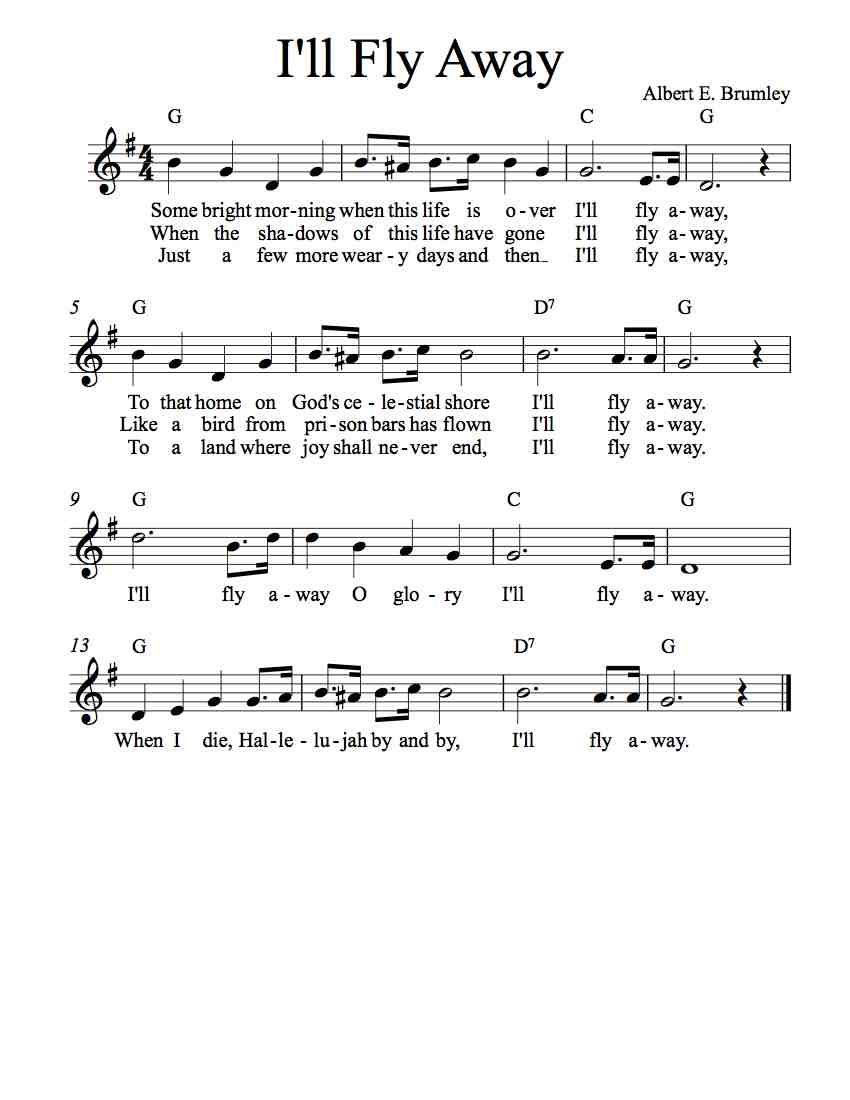 Free Lead Sheet Ill Fly Away Albert E Brumley Music