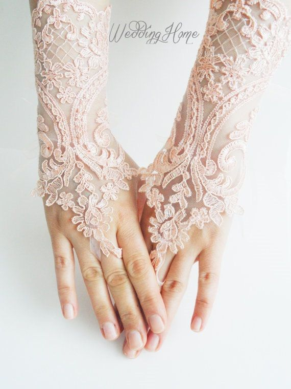 cb9a82488dfaaf Peach wedding gloves, french lace, Soft peach pink Wedding gloves, bridal  gloves, fingerless gloves, salmon, free ship, on Etsy, $35.24 AUD