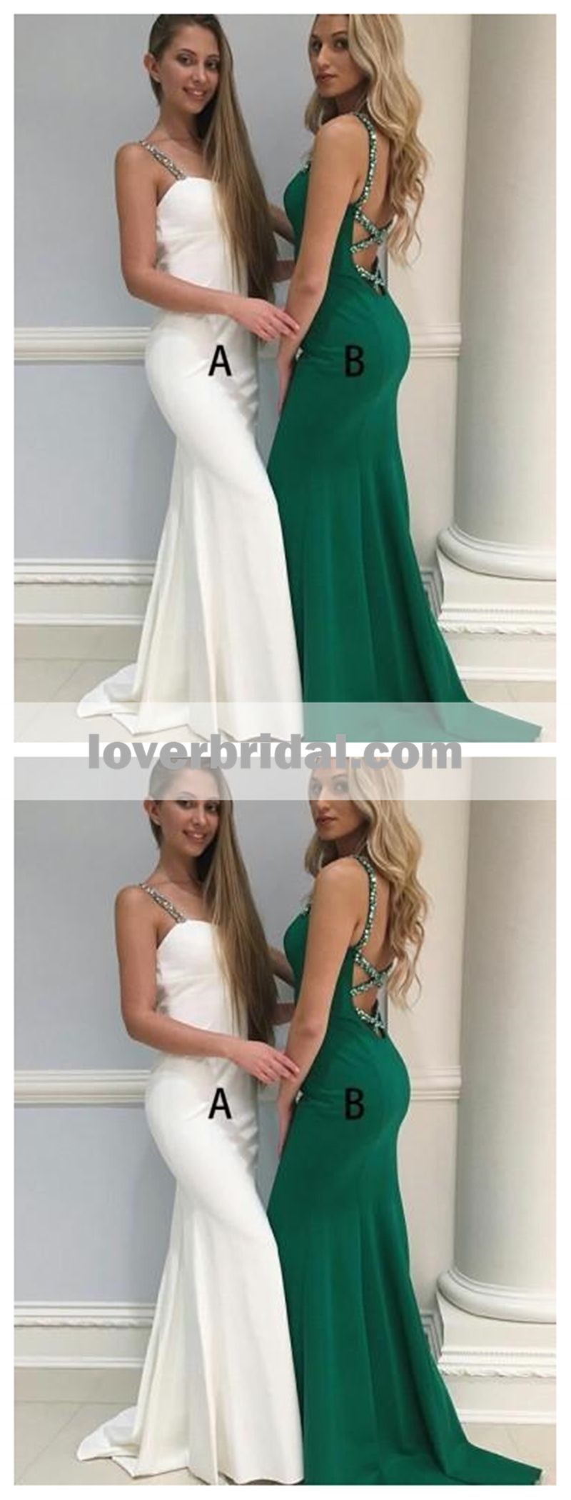 Backless beaded straps emerald green mermaid long evening prom