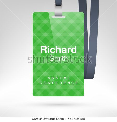 green conference badge with name tag placeholder blank badge