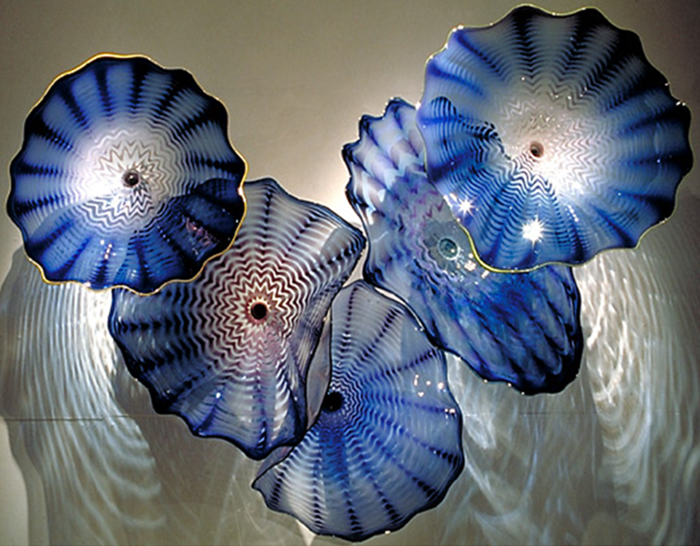 Decorative blue lotus flower glass plate wall art decoration