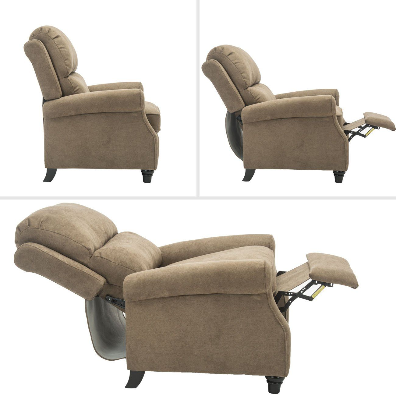 Bonzy Pushback Recliner Roll Arm And Easy To Push Mechanism Recliner Chair Light Brown Continue To The Product At The Recliner Chair Recliner Brown Recliner