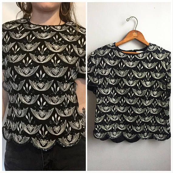 Vintage Papell Boutique Silk Beaded Embroidered Black Top