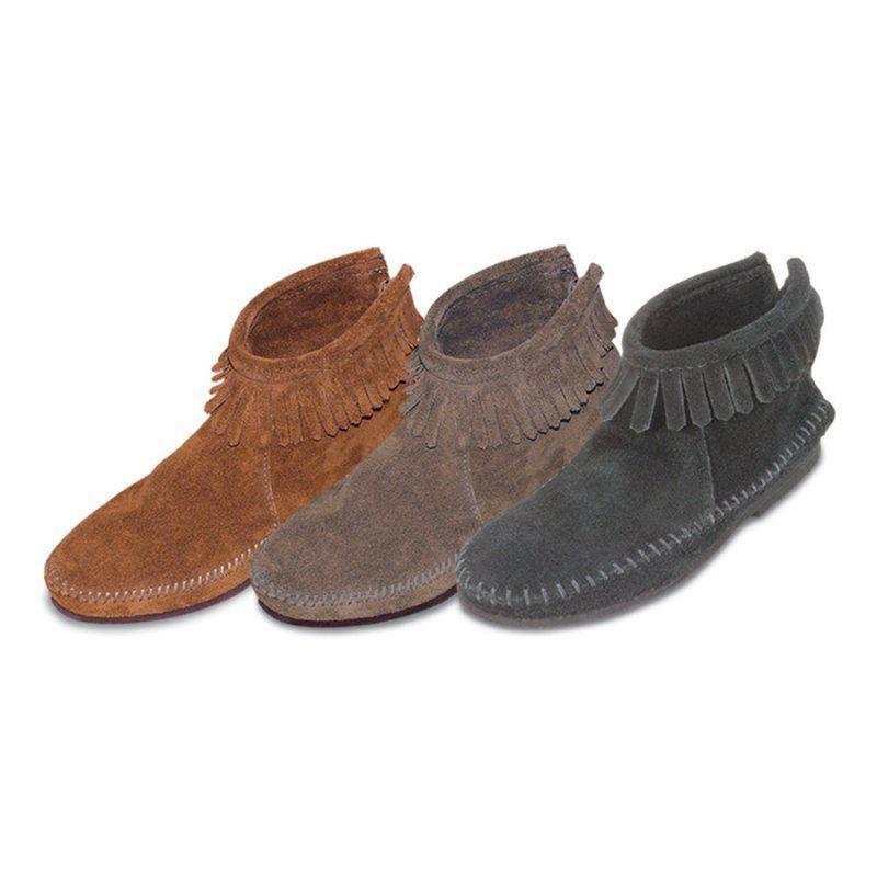 6de302853fe Womens Back Zipper Ankle High Moccasin Boots, Women's - 182-BROWNSS-8.5,  Minnetonka