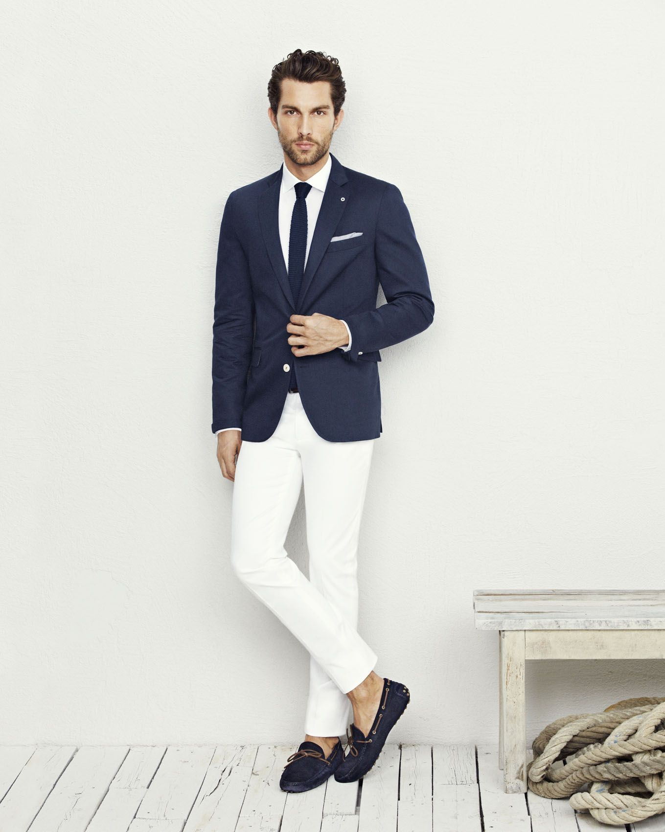 Navy Blue Blazer Jacket, White Pants, White Shirt, Navy Blue Knit ...