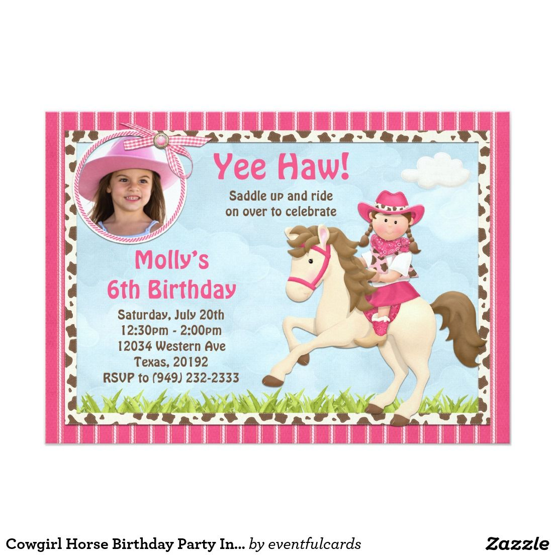 cowgirl horse birthday party invitation 5 x 7 invitation card - Horse Party Invitations