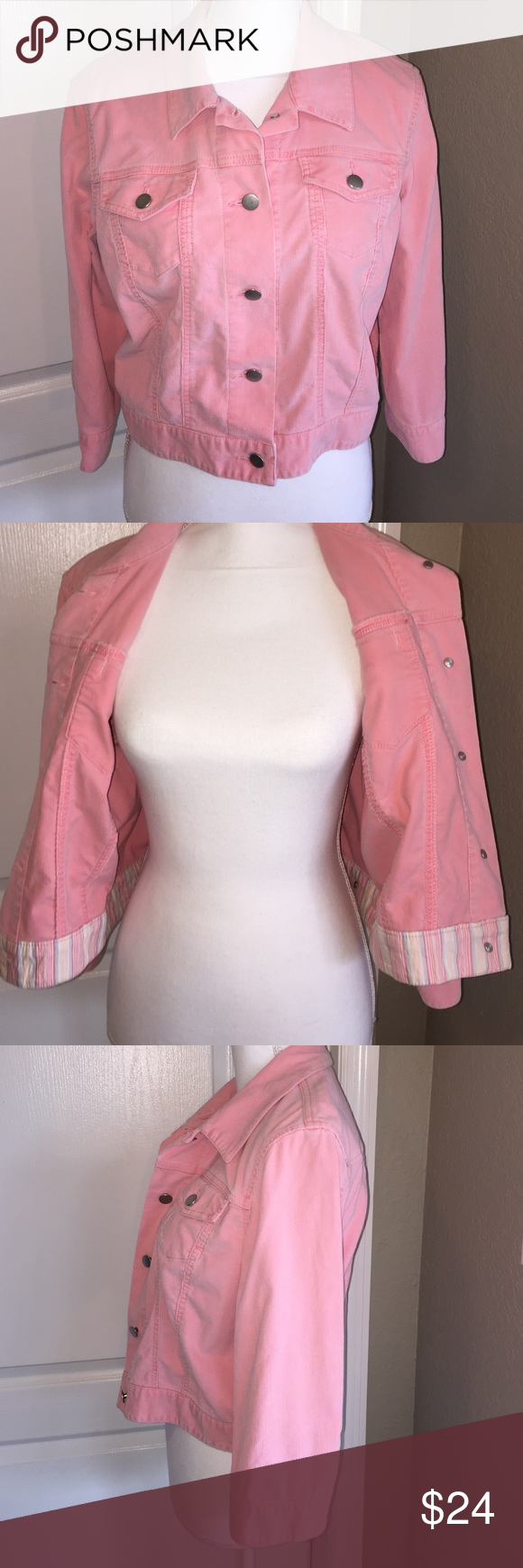 Moda International Stretch Cordoury Style Jacket Moda International Stretch Cordoury Style Jacket.  Size 12, Pink. 98% Cotton, 2% Spandex.  Waist length, 3/4 Sleeves.  19 inches long from shoulder to hem. Moda International Jackets & Coats