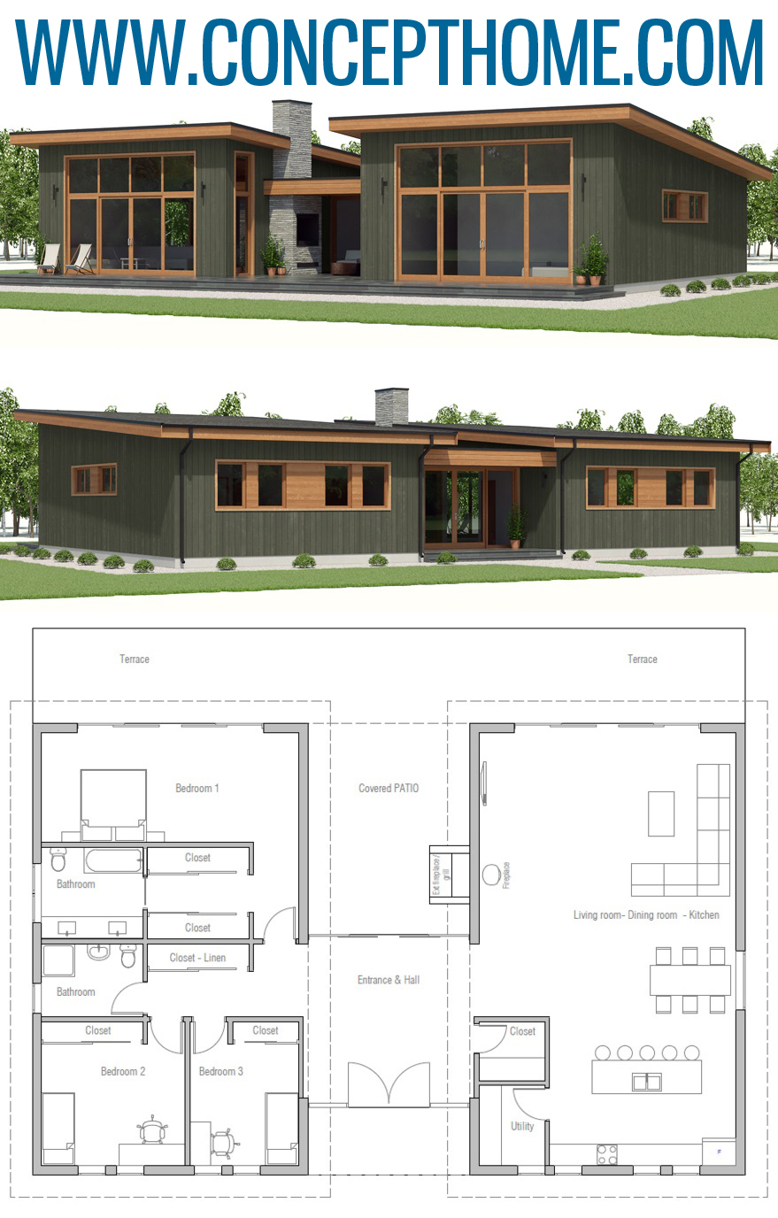 House Plan Ch411 In 2020 Small Modern House Plans New House Plans House Exterior