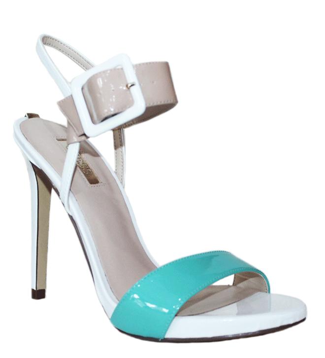 GUESS (ABBIE2) Sandalo Vernice Pelle Donna Bianco Celeste Minud FLABB2PAF03