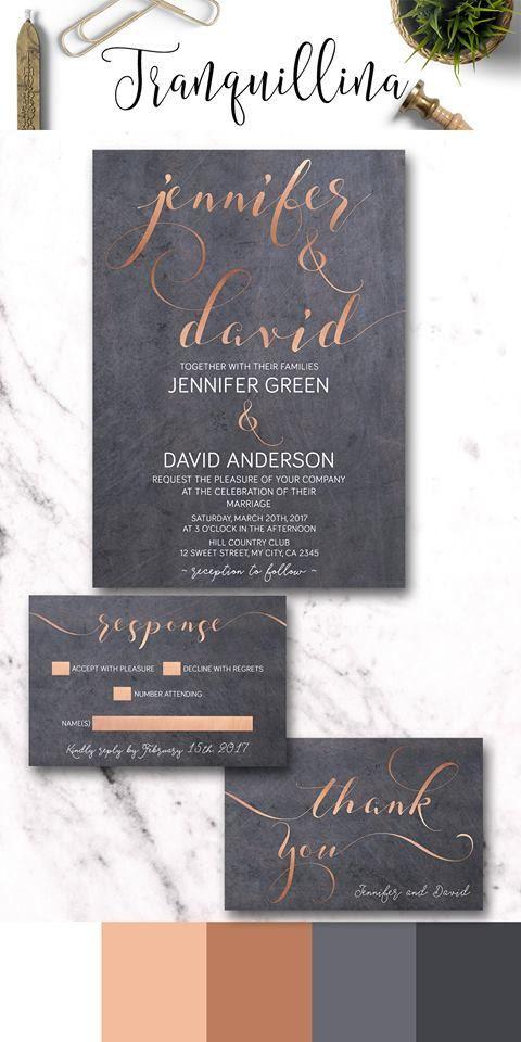 Copper Wedding Invitation Printable Modern Wedding Invite Set Gray