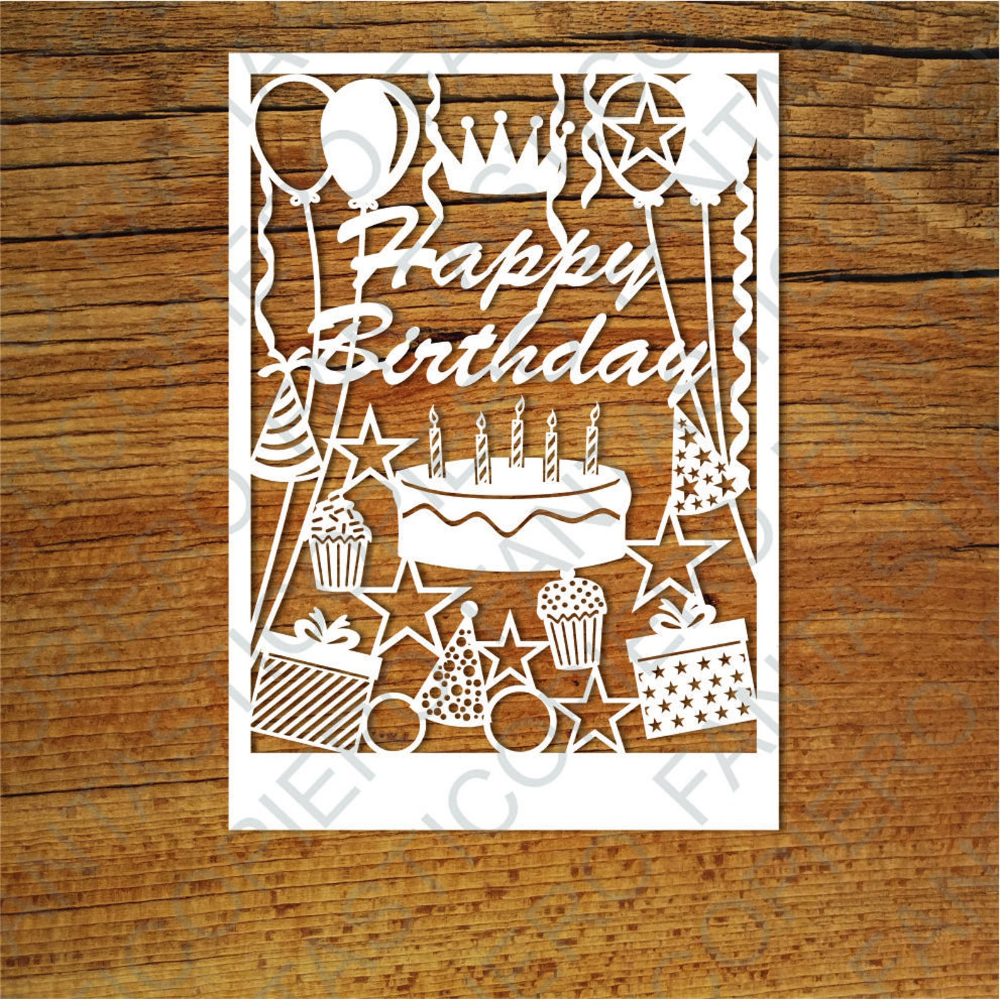 Happy Birthday Card Svg Files For Silhouette Cameo And Cricut Etsy Cricut Birthday Cards Birthday Card Template Birthday Cards