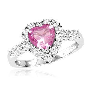 10k White Gold Heart Shaped Created Pink Sapphire And Round Created White Sapphire Heart Ring Heart Jewelry Heart Shaped Ruby Rings Heart Shaped Rings