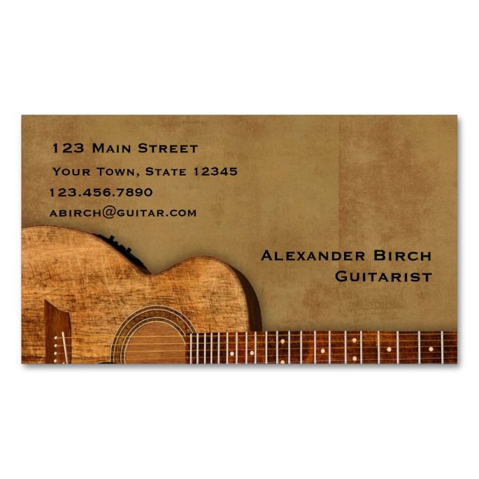 Rustic guitar business card business cards business and template rustic guitar business card reheart Images