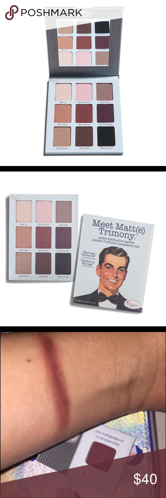 theBalm cosmetics Matt(e) trimony in warm Trimony is for triple milled eyeshadows for extra pigmentation. theBalm cosmetics Makeup Eyeshadow