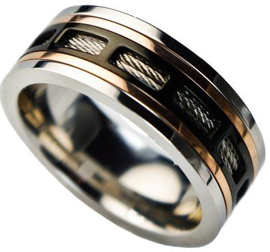 spinning cable wire inlay men 39 s ring three tone stainless. Black Bedroom Furniture Sets. Home Design Ideas