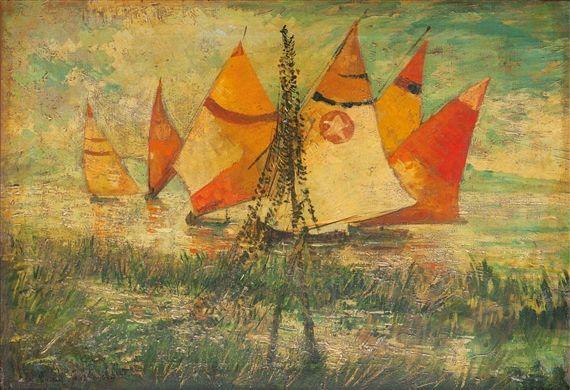 Michele Cascella - PARANZA IN PESCARA, Oil on canvas