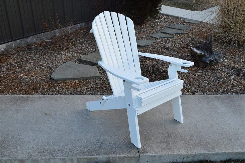 Amish Poly Folding Adirondack Chair with Two BuiltIn