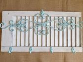 Shabby Chic Shutter White Hook Aqua Wrought Iron Metal Kitchen Coat Hanger Towel