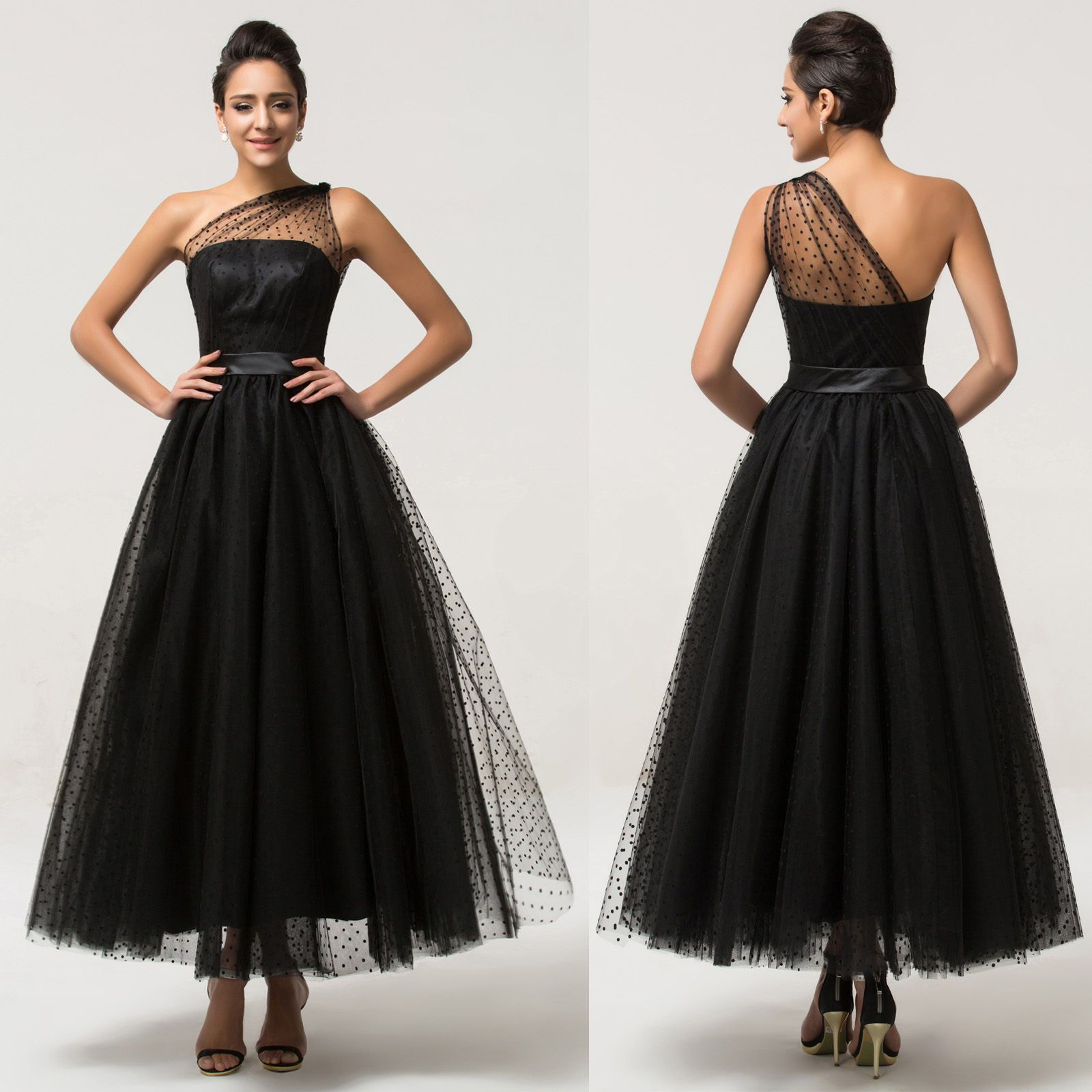 LONG Black Vintage Formal Evening Ball Gown Cocktail Prom Party ...