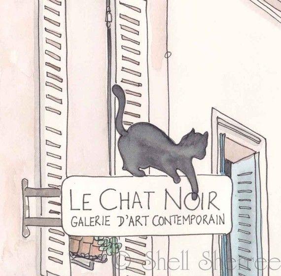 Black Cat Paris Le Chat Noir Fine Art Paris Print Paris Illustration Paris Art Paris Illustration Le Chat Noir Paris Print