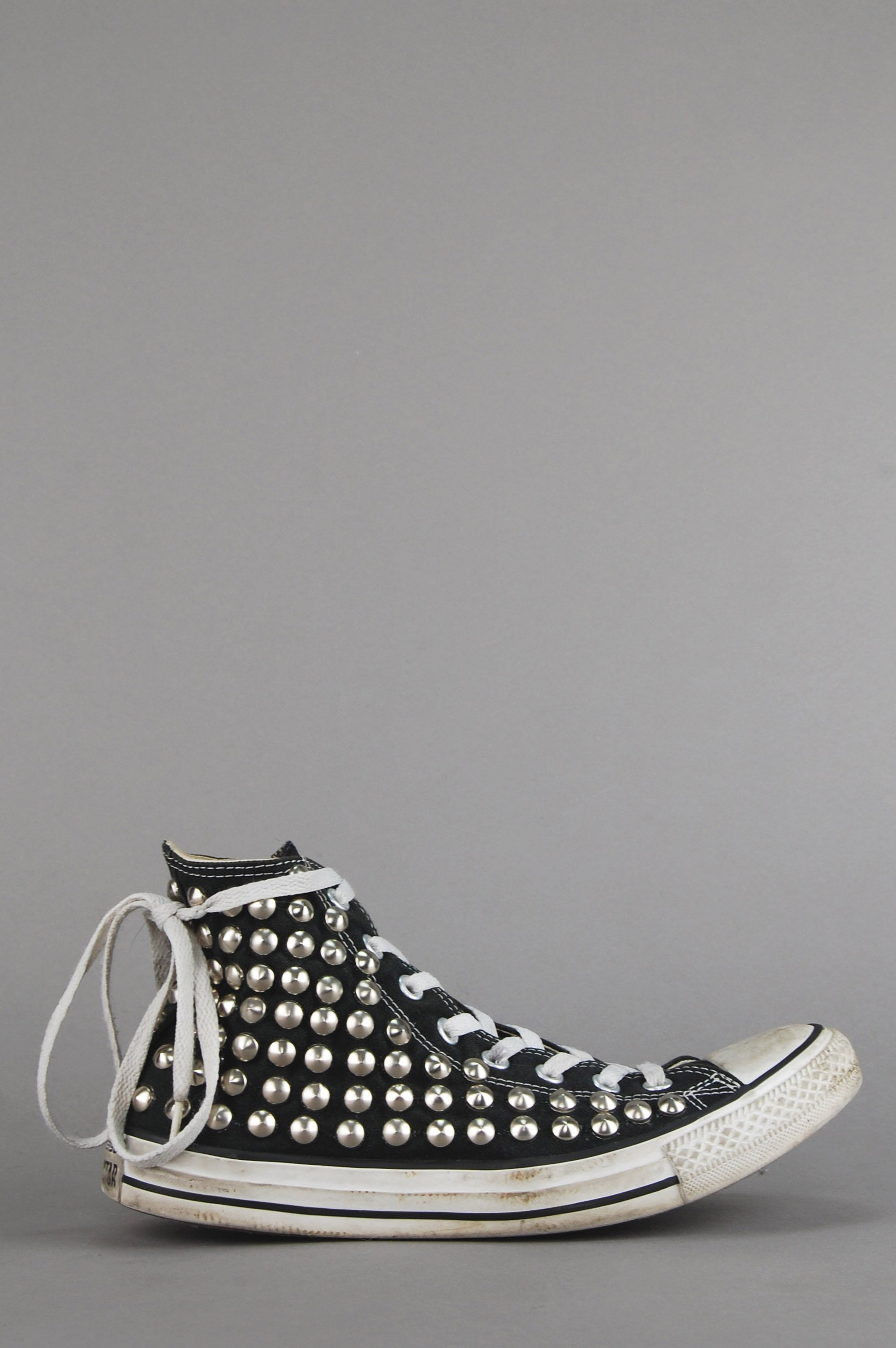 Distressed Studded Converse High Top Sneakers   Studded
