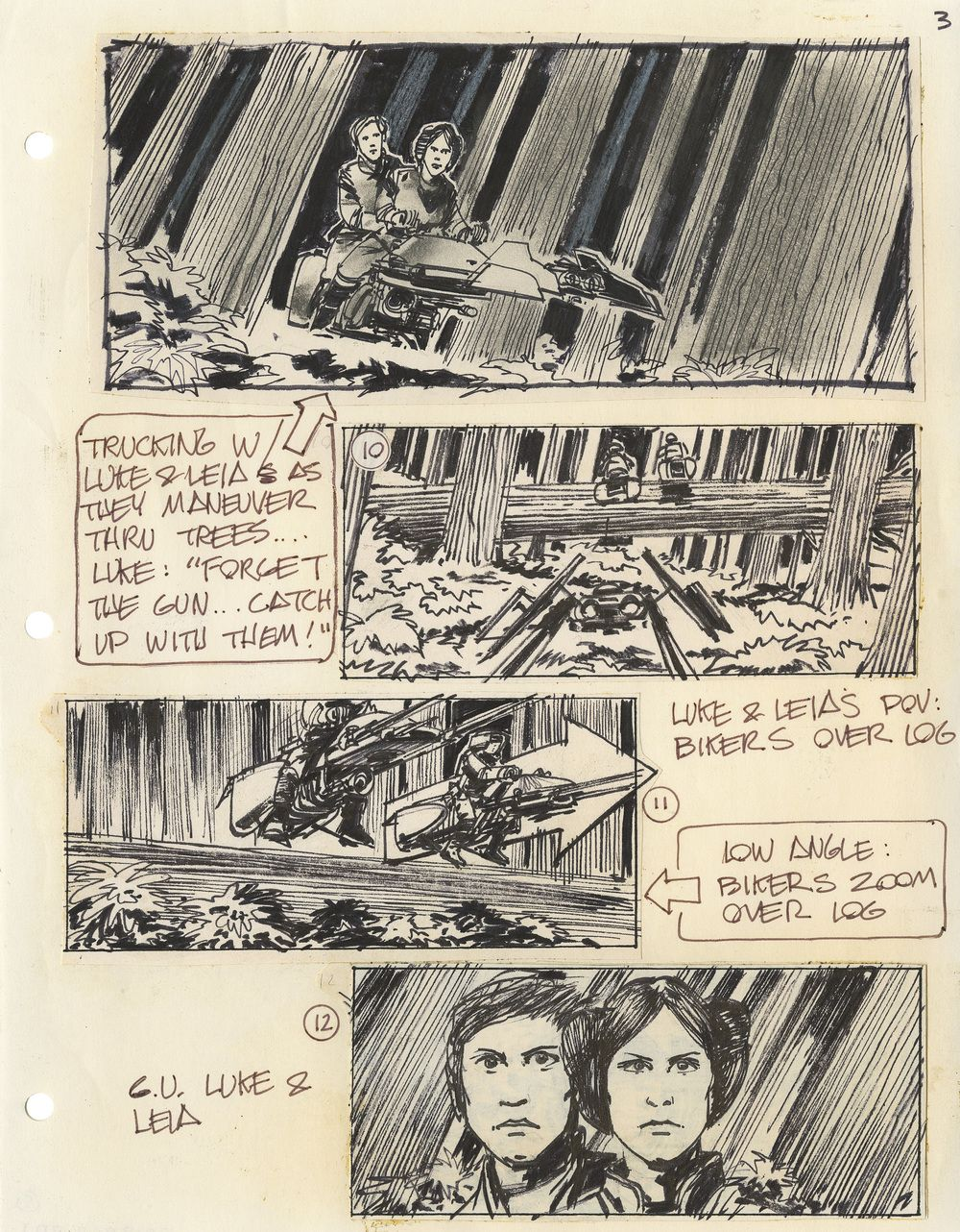 Original Storyboards For The Original Star Wars Trilogy Star Wars Trilogy Storyboard Storyboard Examples
