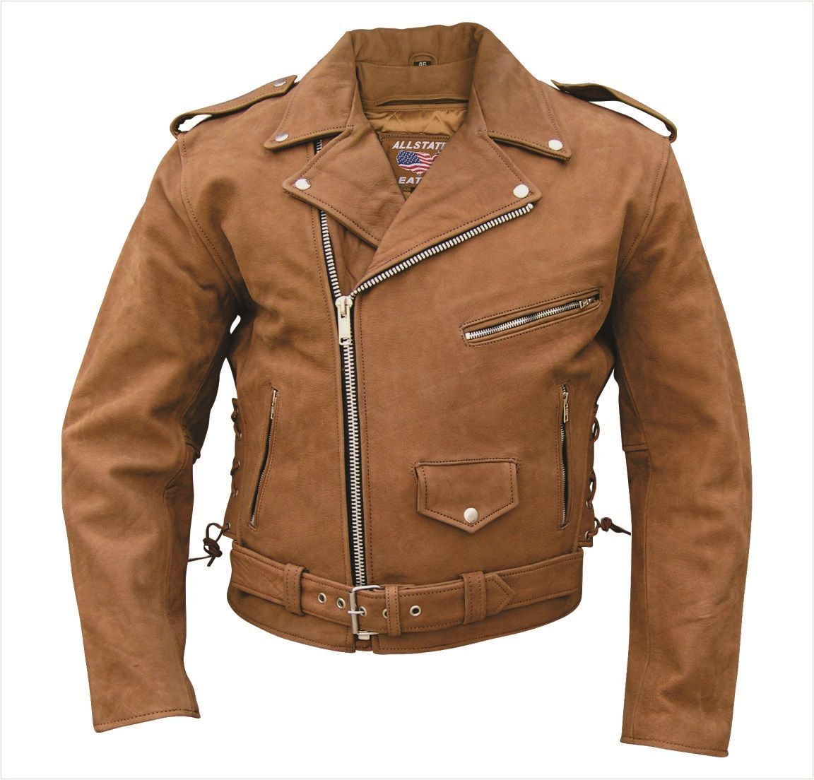 Mens Brown Leather Motorcycle Jacket With Zip Out Liner Side