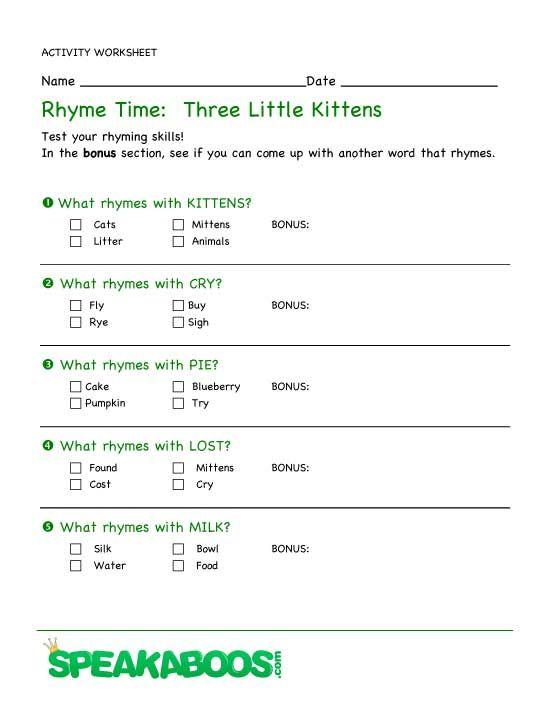 Rhyme Time Three Little Kittens Speakaboos Worksheets Rhyming Words Rhymes Nursery Rhymes