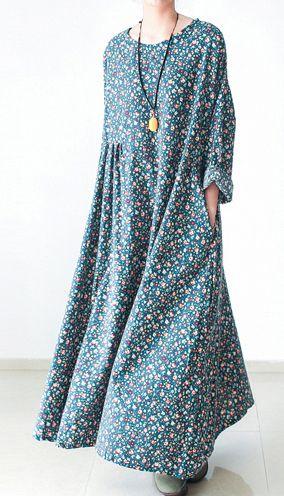 6a177b2c2e Green floral plus size cotton dresses long sleeve fall dresses print maxi  dresses