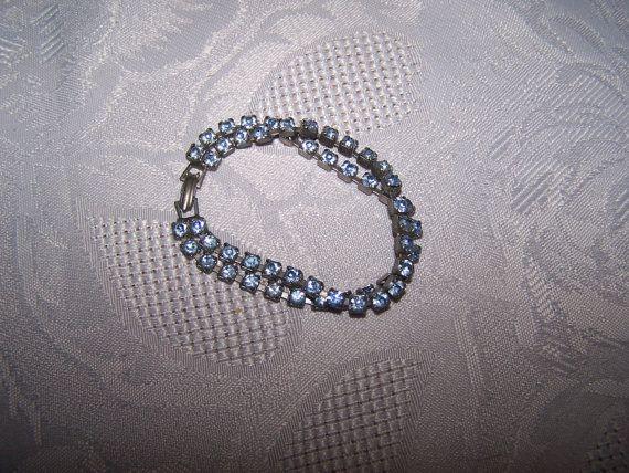 Vintage Blue prong set rhinestone bracelet by vintagebyrudi