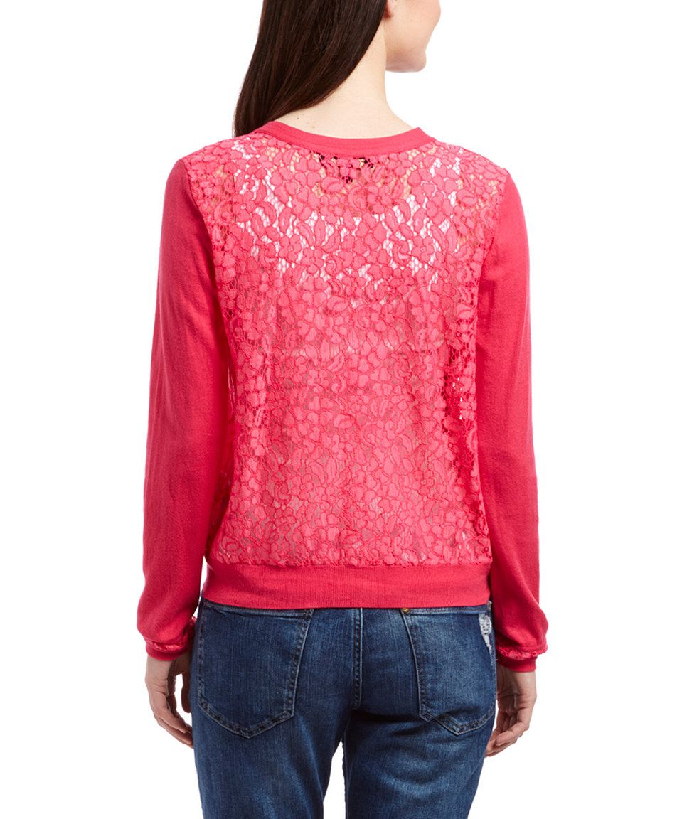 Look at this #zulilyfind! Ultra Fuchsia Lace-Back Cardigan - Women ...