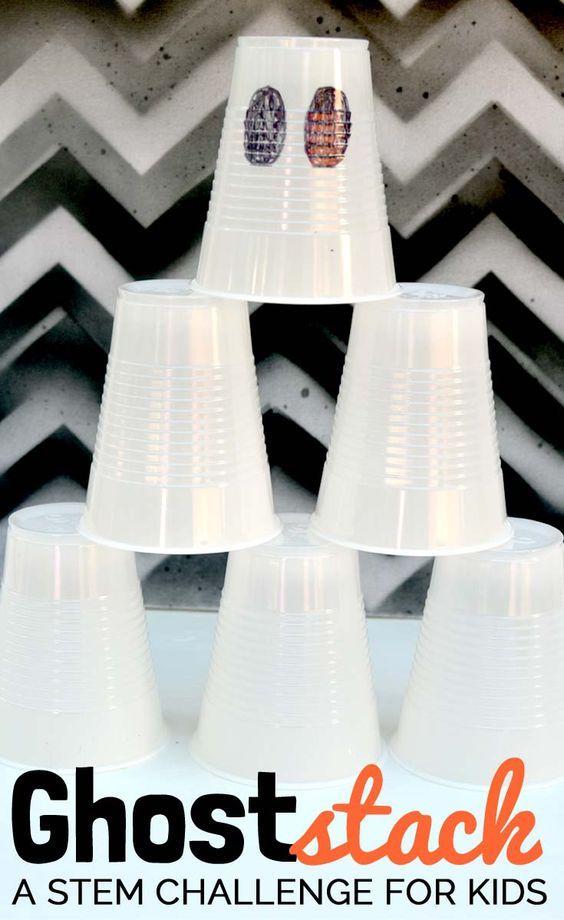 Low Prep Halloween STEM challenge for kids! Stack ghost cups Fun - halloween party ideas for preschoolers