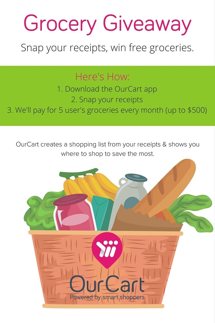 When you snap your receipts on the OurCart App, we'll create an
