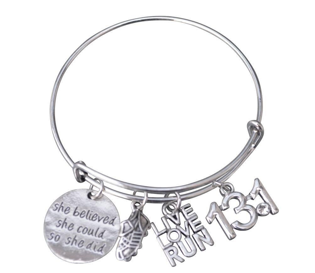 Girls running bangle bracelet half marathon half marathons