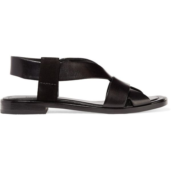 Alexander Wang - Lana Suede-trimmed Leather Sandals (€140) ❤ liked on