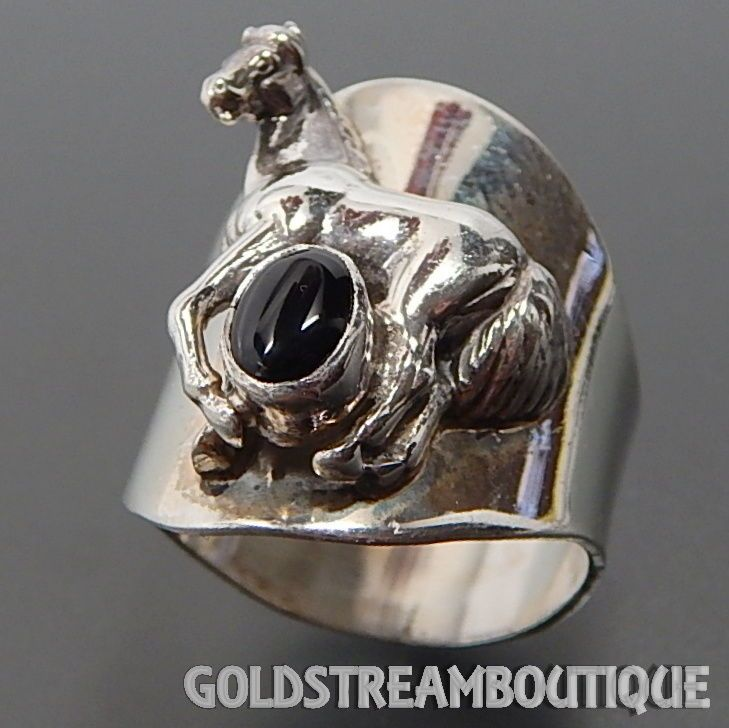 1990 CAROL FELLEY 925 SILVER BLACK ONYX 3D HORSE WIDE BAND RING SIZE 9 SKU-B2739 #CAROLFELLEY #Band