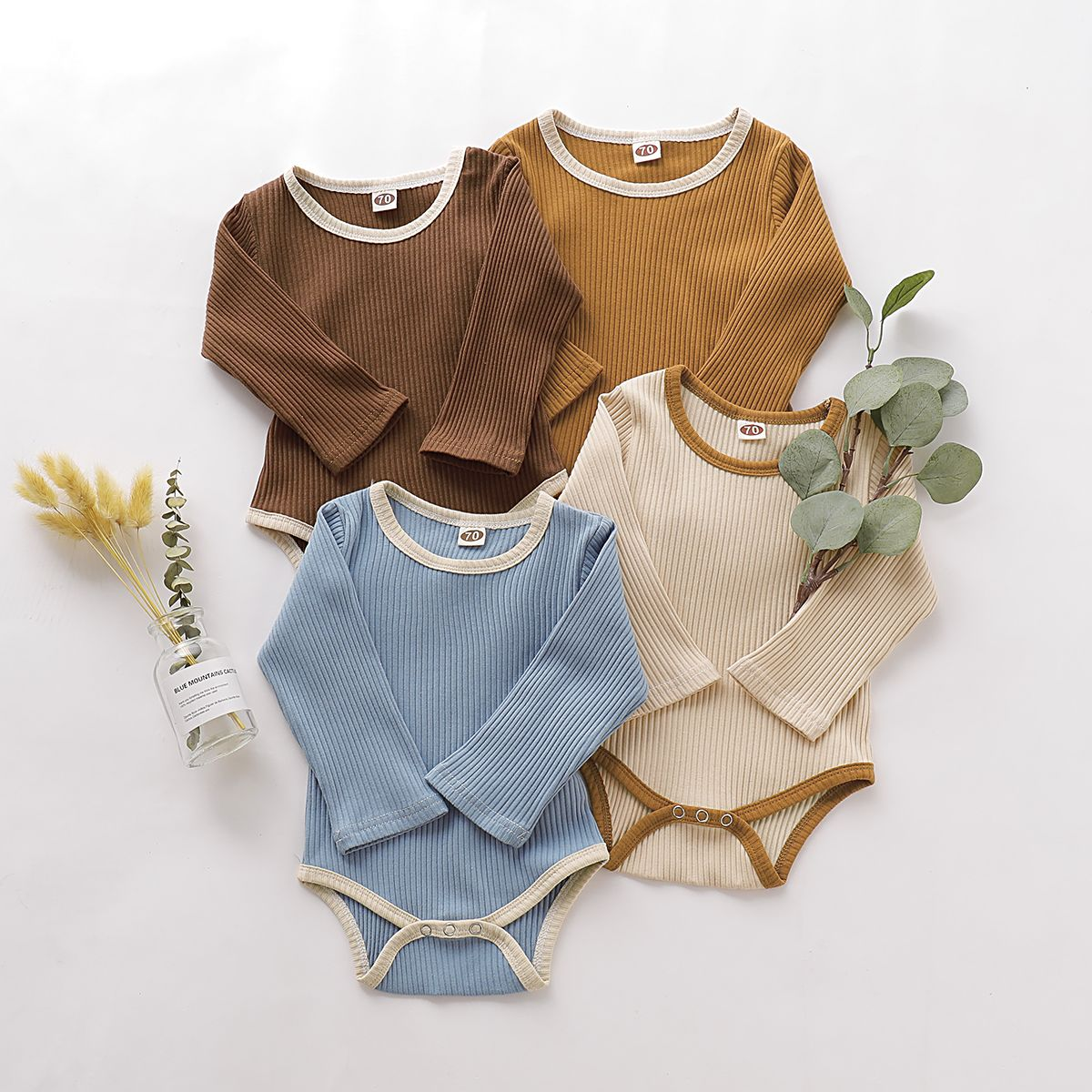 Baby Solid Knitted Style Longsleeve Romper Fashionable