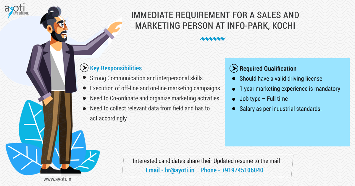 Immediate Requirement For A Sales And Marketing Person At