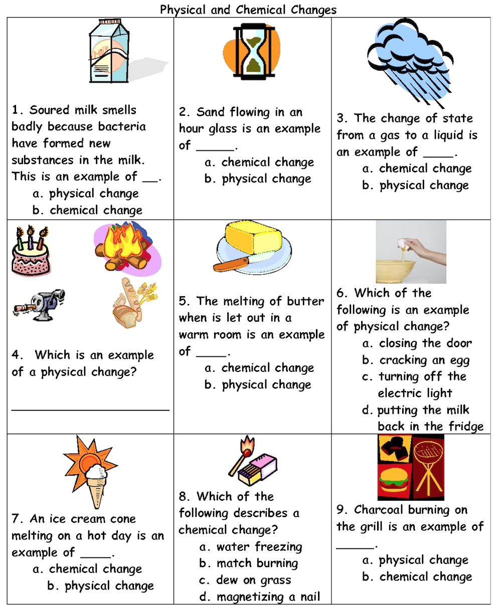 worksheet Changes In Matter Grade 5 Worksheets physical or chemical change this is a great practice sheet that could be paired with plenty of science experiments third grade