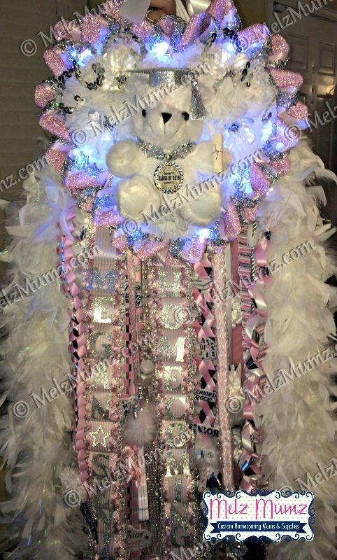 MelzMumz.com MEGA Triple Homecoming Mum Candy Pink accent and Grad Bear #homecomingmumsdiy
