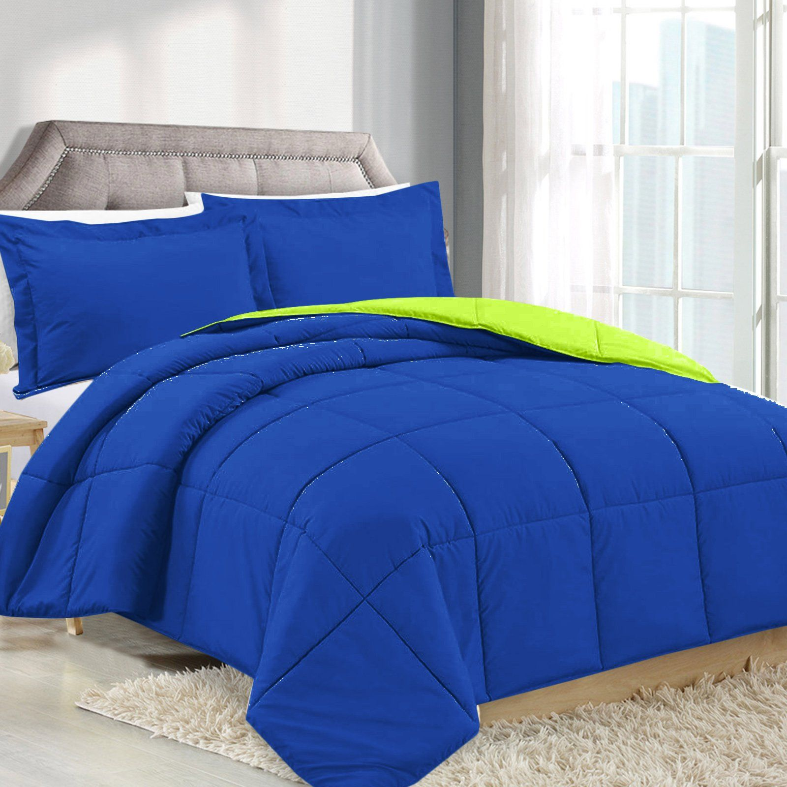 Twin Comforter Reversible Duvet Insert  Royal Bluelime Green