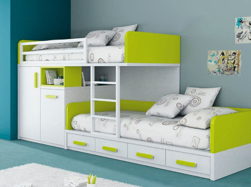 Awesome Kids Beds With Storage For A Tidy Room : Extraordinary White Green Bunk Kids  Beds With Storage Design Ideas