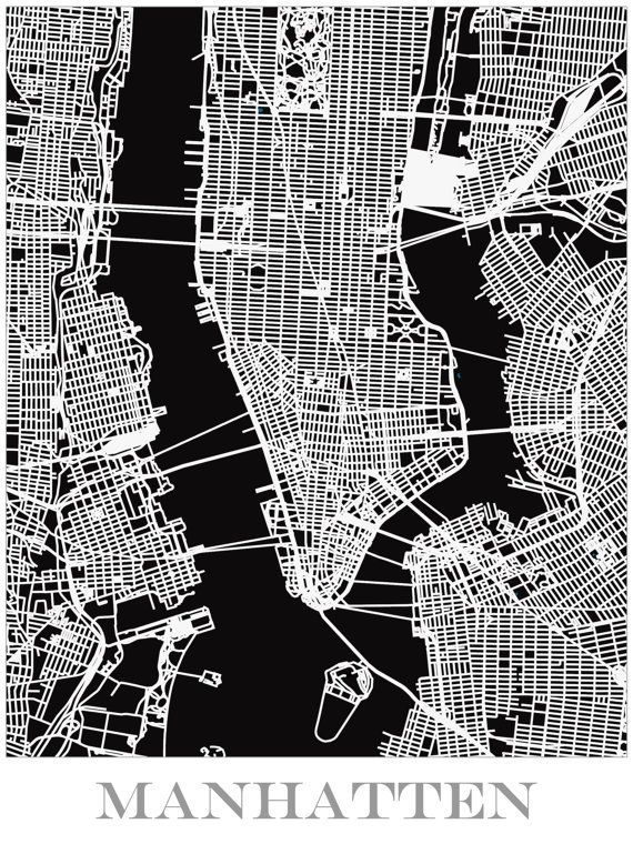 Map Print of Manhattan (With images) Manhattan map, Map