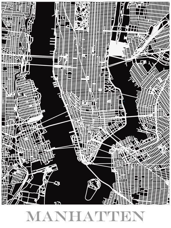Map Print of Manhattan