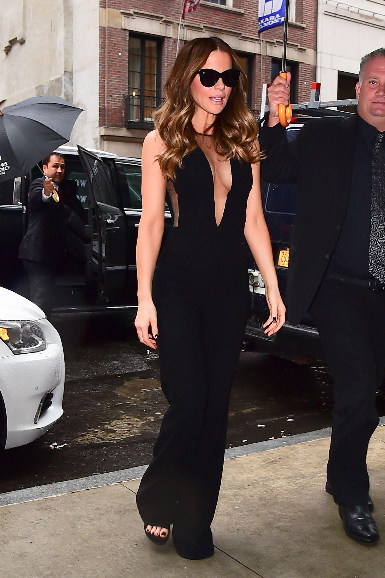 a724f143a8ec Kate Beckinsale in a black plunging jumpsuit