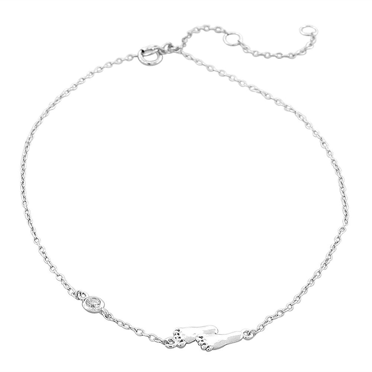 Tuscany Silver Sterling Silver Multi Open Heart Anklet of 28cm/11 6C2EHFb7R