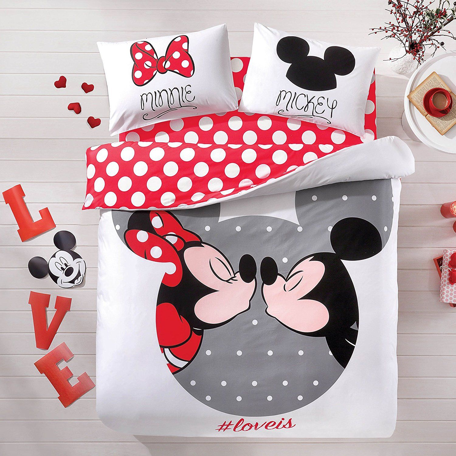 Mickey Mouse Bettwäsche Disney Discovery Mickey Minnie Love Queen Size Bedding Disney