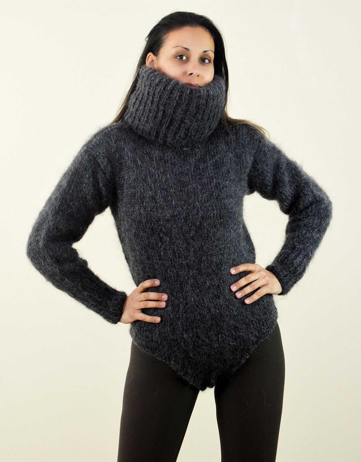 4ea61bda0d Super sexy Hand knitted mohair sweater bodysuit long turtleneck Dark Gray  color fuzzy and fluffy plain design by Extravagantza Handcrafted boutique  knitwear